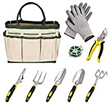 Dtemple 9pcs Ergonomic Garden Tools,Heavy Duty Gardening,Aluminum Hand Tool Kit Set Gloves/Tote/Pruner/Weede/ Rope/Cultivator (White)