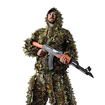 LOOBEEN Ghillie Suit - Hunting Outfit Camo Clothes Set for Tactical Hunt Woodland