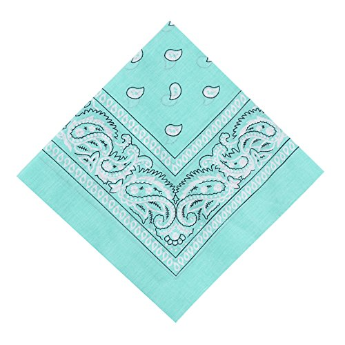 Alotpower Cotton Bandanas Square Handkerchiefs, 6 Pack,Mint Green