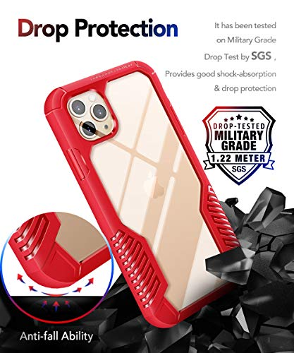 MOBOSI Vanguard Armor Designed for iPhone 11 Pro Max Case, Rugged Cell Phone Cases, Heavy Duty Military Grade Shockproof Drop Protection Cover for iPhone 11 Pro Max 6.5 Inch 2019, Red