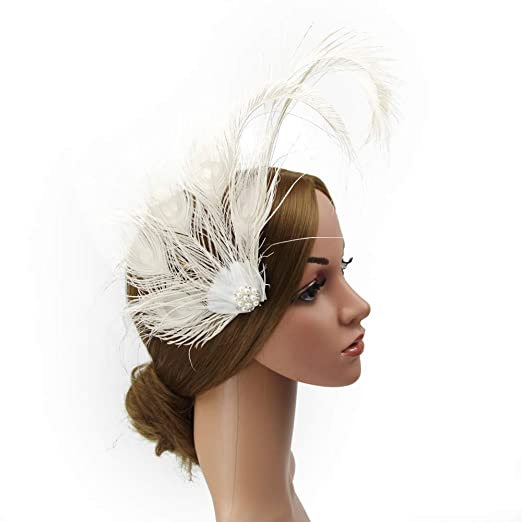 474d3a50a888d SMSW 1920s Flapper Hair Clip Peacock Feathers Roaring 20s Gatsby Headband  Costume Headpiecee Headwear Beige at Amazon Women s Clothing store