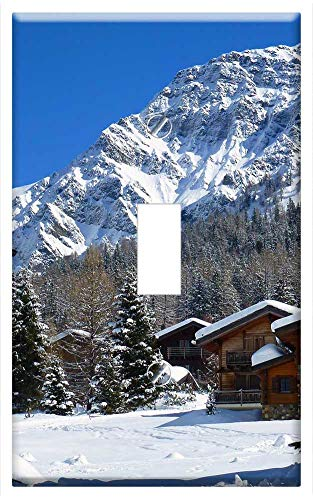 Switch Plate Single Toggle - Chalet Snow Mountain Winter Holiday