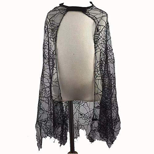 U-House Halloween Kids Spider Web Cape Girls Halloween Party Role Play Spiderweb Dress Up Cloak 28inch