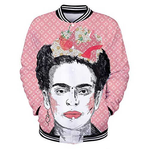 Elegante Béisbol Estampado Con Frida Kahlo Mujer Pink Outwear Para Art Abrigo Tops Chaqueta De w0v5gq