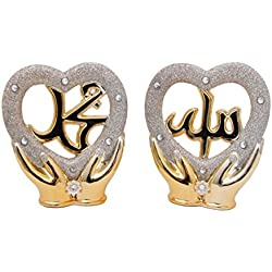 Islamic Muslim Gold Color Stand Ceramic Heart Shape with Rhinestone / Favor Allah & Mohammad / Home Decorative # 1328