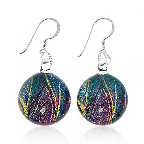 925 Sterling Silver Hand Painted Murano Glass Multi-colored Peacock Feather Round Dangle (Italian Earrings)