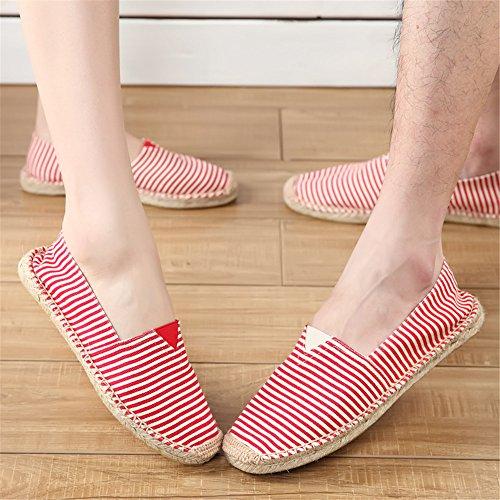 de Mocasines de Mocasines SHELAIDON del Lona planos paja sin y cáñamo lino cordones los Zapatos hombres Alpargatas 1Bwwfqx5U
