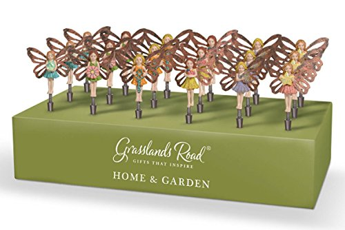 Grasslands Road Miniature Bobble Fairy Pick Metal Assortment Décor (18 Pack), 6''/Mini, Multicolor by Grasslands Road