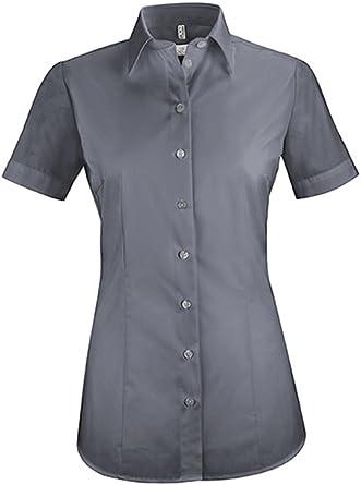 Greiff Damen-Bluse mit Kent-Kragen Bügelfrei 100/% Baumwolle, Kurzarm