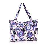 Rumas Vintage Printing Shoulder Bag Women Canvas Handbag Tote Purse(purple)