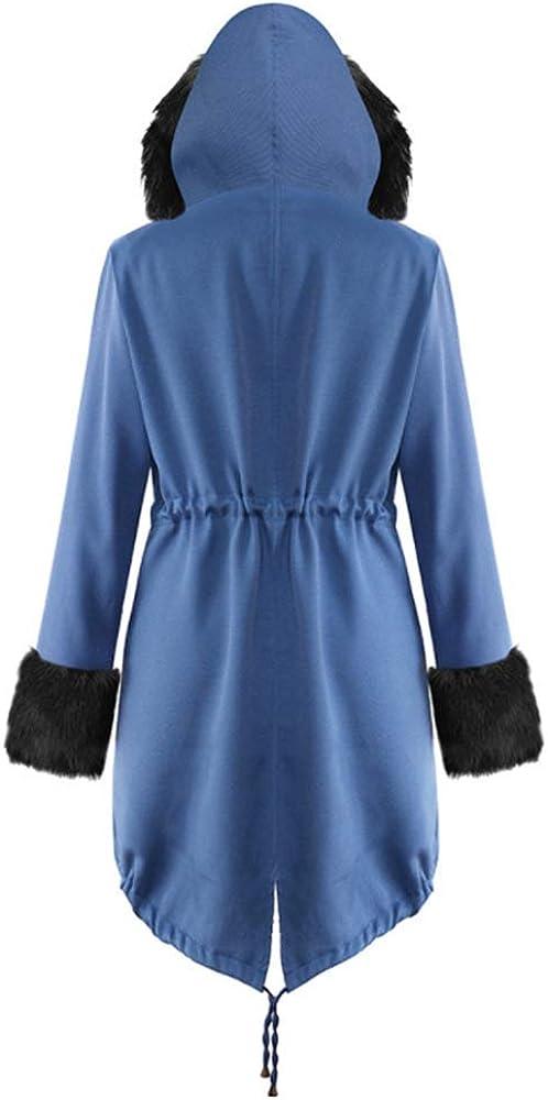 Mitef - Cappotti da Donna con Cappuccio Stampato in Finta Pelliccia, Invernali Spessi, in Caldo Cotone Blu 1
