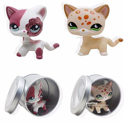 [tongrou 2pcs #852 #2291 Littlest Pet Shop RARE cream & Pink Cat Green Eyes LPS] (Pinata And Bat Costume)