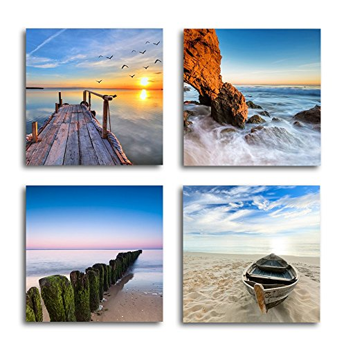 (Vmar Art 4 Piece Framed Wall Art Decor Canvas Landscape Seascape Seaview Photo Picture Paintings for Living Room Bedroom Dining Room Modern Decoration 12 x 12Inch)