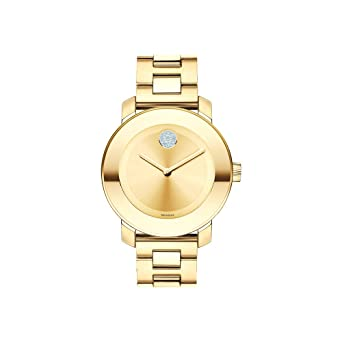 df5712c424 Movado Women's BOLD Iconic Metal Yellow Gold Watch with a Flat Dot Sunray  Dial, Gold