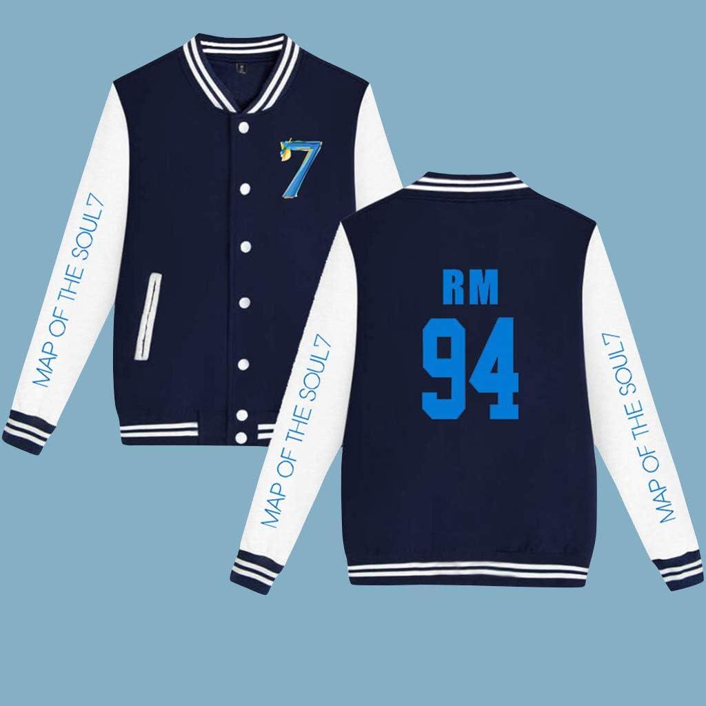 PowerTop Unisex Kpop BTS Bangtan Boys RM Baseball Jackets Album Map of The Soul 7 Jacket Uniform Sweatshirt Sweater Coat