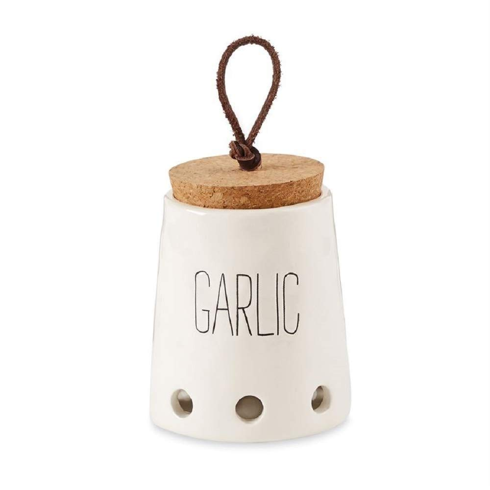 Mud Pie Garlic Keepers (White with Cork Top)