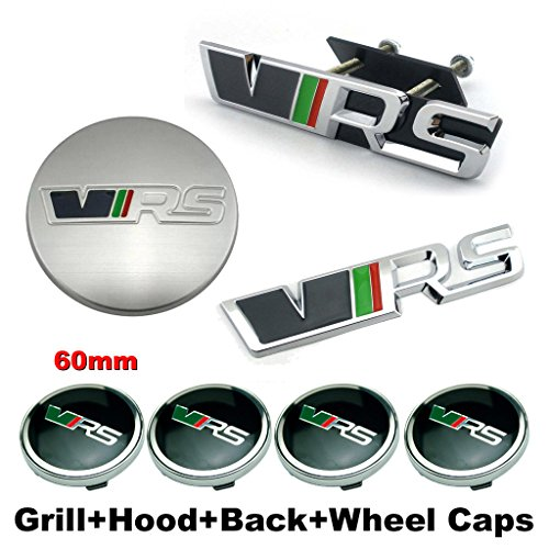 BENZEE 7pcs Sets AM134 VRS Racing Sports Front Grille + Hood Emblem + Back Sticker + Wheel Hub Caps Car Emblem Badge For Skoda Octavia Fabia Superb Rapid ...
