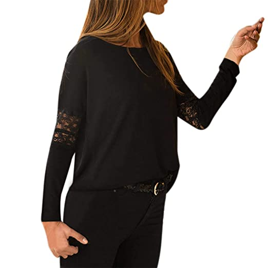 316e4c84fb6f Amazon.com: Fainosmny Womens Tops Loose Shirts Sexy Lace Blouse Solid Tunic  Tees Long Sleeve Sweatshirt Casual Easy Tanks T-Shirt: Clothing