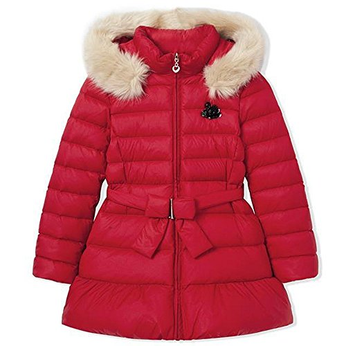 QJH Girls'Flowery Down Coat Childrens' Puffer Jacket With Fur Hoody by QJH