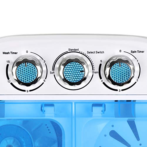 SUPER DEAL Portable Compact Washing Machine, Mini Twin Tub Washing Machine w/Washer&Spinner, Gravity Drain Pump and Drain Hose