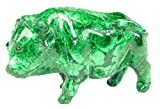 Hand Carved Zaire Africa Malachite Water Buffalo Lapidary 6.8'' X 2.8'' X 4.5'' Tall Carving