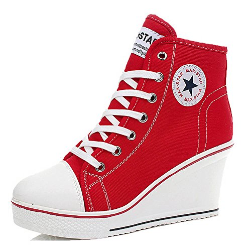 - Padcod High Heel Sneaker, Canvas Lace Up Fashion Shoes High Top Wedges Casual Sneaker (7-7.5 B(M) US/38EU, Red)