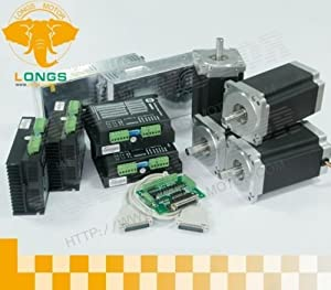4 axis Nema 23 stepper motor 425 oz.in & Driver DM542A, peak 4.2A CNC kit by Longs Motor