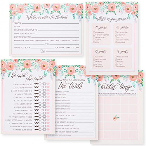 Juvale Set of 5 Pink Floral Bridal Shower Wedding Games, 50 Cards Each Game, 5 x 7 - Tea Bridal Favors Purse Shower