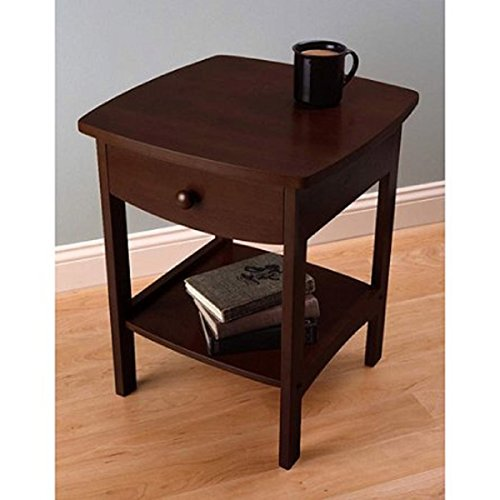Dark Walnut Curved Smooth Design Blends With Any Style Features A Pull-Out Drawer Nightstand / End Table, Dimension 18x18x22