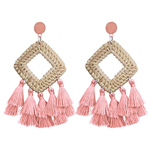 (FEDULK Womens Bohemia Jewelry Tassel Earrings Statement Dangle Ethnic Fringe Weaving Square Sector Earrings(Pink))