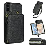 iPhone X Wallet Case, YUNCE Leather Wallet Case Credit Card Holder Slot Protective Leather Zipper Wallet Case Card Holder Handbag Cover iPhone X (Black)