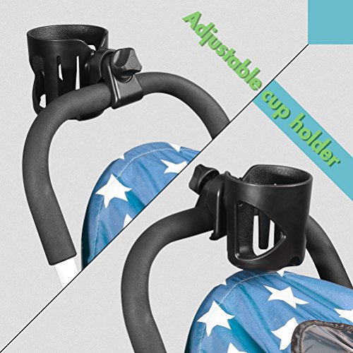 AULLY Park Stroller Cup Holder, Drink Holder for Wheelchair, Bicycle, Office Chair, Scooter, Adjustable Water Bottle Cage (Black) by AULLY PARK (Image #3)