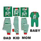 Mikrdoo Family Matching Christmas Pajamas Sleepwear Letter Print Tops Striped Pant Set (XL, Men)