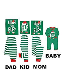 Mikrdoo Family Matching Christmas Pajamas Sleepwear Letter Print Striped PJs Set