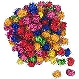 500 PCS Glitter Tinsel Pom Poms Sparkle Balls Assorted Color