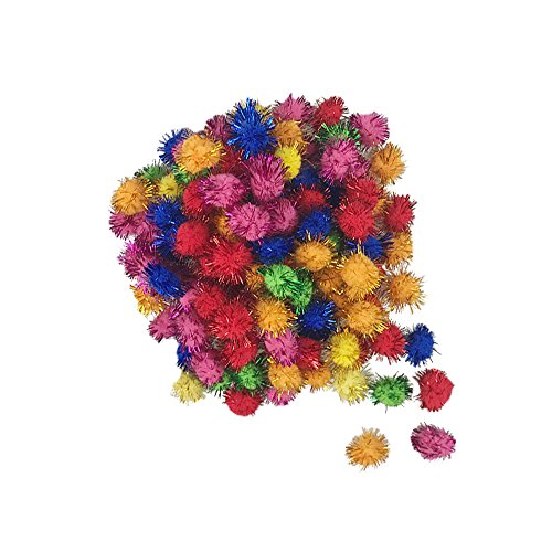 500 PCS Glitter Tinsel Pom Poms Sparkle Balls Assorted Color
