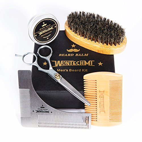 Beard Grooming Kit for Men Care, Beard Brush, WONTECHMI Beard Comb, Beard Boar Bristle Brush, Mustache and Beard Balm Butter Wax, Barber Scissors for Styling, Shaping and Growth, Gift for Men