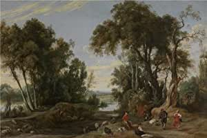 'Jan Wildens - Landscape with Shephards Dancing, 1631' oil painting, 12x18 inch / 30x46 cm ,printed on Cotton Canvas ,this Amazing Art Decorative Prints on Canvas is perfectly suitalbe for Living Room gallery art and Home gallery art and Gifts