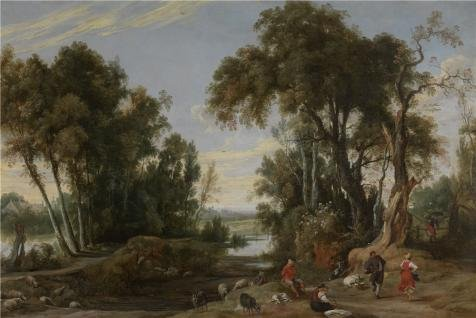 [Perfect Effect Canvas ,the High Resolution Art Decorative Prints On Canvas Of Oil Painting 'Jan Wildens - Landscape With Shephards Dancing, 1631', 20x30 Inch / 51x76 Cm Is Best For Kids Room Decoration And Home Artwork And] (Tin Foil Alien Costume)