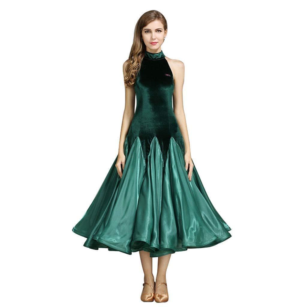 今季ブランド 女性のモダンダンスドレス社交ダンス衣装ドレスコスチューム漏れやすい肩ノースリーブビッグスイングスカート B07NVMC1KM L L l|グリーン グリーン グリーン L l l, 都留市:85878859 --- a0267596.xsph.ru