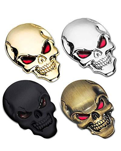 3D Metal Emblem Badge Sticker Decal,Skull Red Eyes Auto Decor - 4pcs