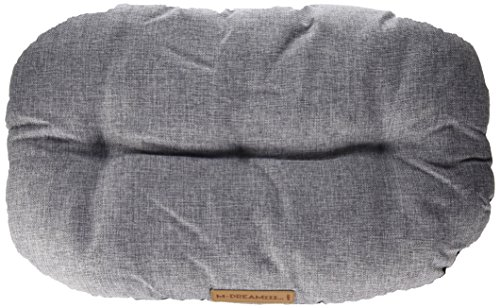 Oval Pet Carrier - M-Pets Light Grey Oval Cushion Dog Bed, 25-inch
