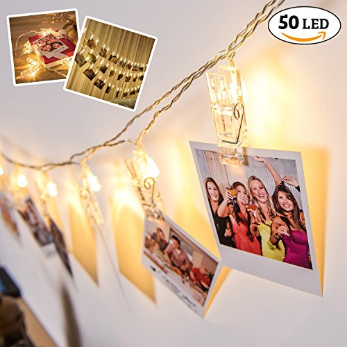 Photo Clips String Lights, 50 LED Battery Operated Starry Firefly Decoration Strand Lights, 17 Feet Fairy Twinkle Lights for Wedding Christmas Decor (Warm White) by SpotOn - 20' Wood Shelf