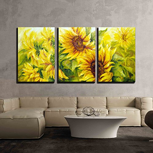 - wall26 - 3 Piece Canvas Wall Art - Sunflowers in Oil Painting Style - Modern Home Decor Stretched and Framed Ready to Hang - 24