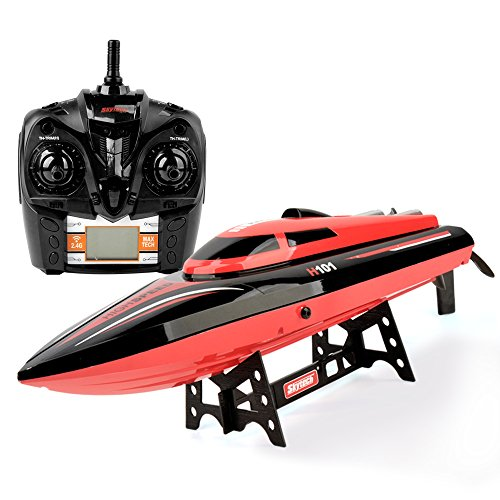 TKKJ New Arrival RC High Speed Boat 2.4GHz 20mph Double Battery with Capsize Reset Function Remote Control Toys for (Twin Engine Nitro Rc)