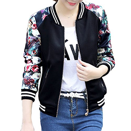 EVEDESIGN Women's Floral Print Baseball Bomber Jacket Slim Fit Casual Zip Up Outwear