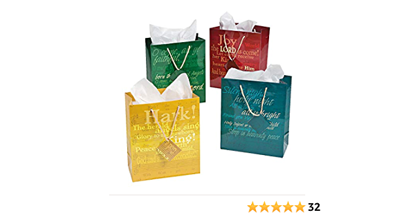 12 Pieces Party Supplies Medium Religious Hymn Gift Bags With Tags