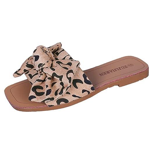 ce0d25249 Goddessvan Womens Platform Slides Slip On Open Toe Bowknot Flat Cork Sandals  Summer Casual Flats Beige