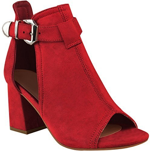 Fashion Thirsty Sandales à Talons Femme Moyens et Faux Larges rouge - Bout Ouvert - Femme Faux suède rouge 5a1806d - boatplans.space
