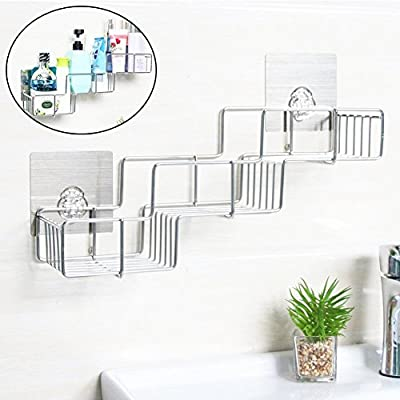 Bathroom Shelf Caddy Wall Mount Stainless Steel- No Drilling Rustproof